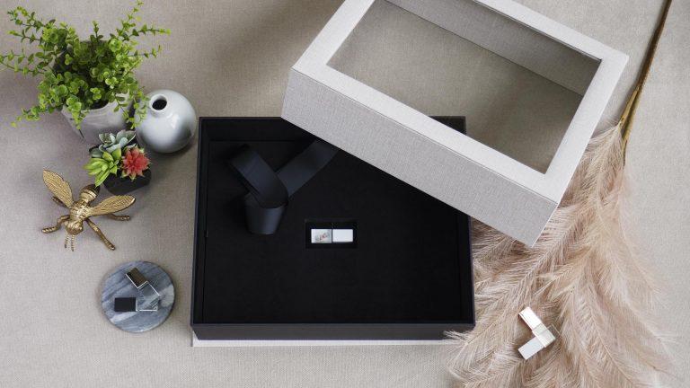 Vanilla Sand Reveal Folio Box with optional USB Foam Insert