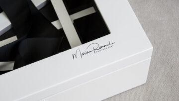 White Signature Folio Box with a black logo
